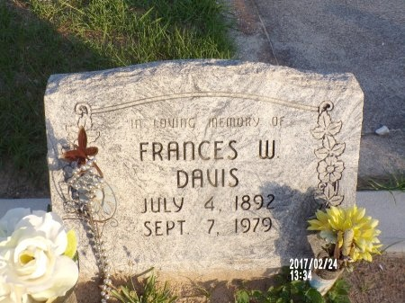 DAVIS, FRANCES W - Hancock County, Mississippi | FRANCES W DAVIS - Mississippi Gravestone Photos