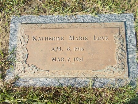 LOVE, KATHERINE MARIE - Hancock County, Mississippi | KATHERINE MARIE LOVE - Mississippi Gravestone Photos