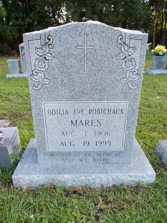 ROBICHAUX MARES, ODILIA EVE - Hancock County, Mississippi   ODILIA EVE ROBICHAUX MARES - Mississippi Gravestone Photos