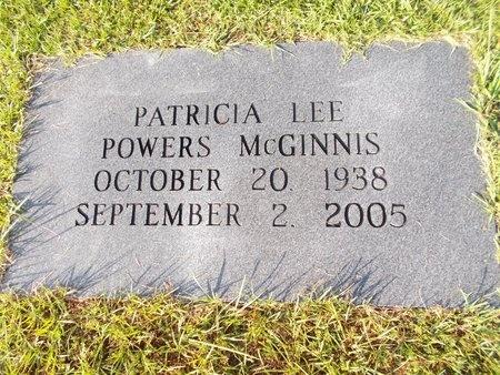 POWERS MCGINNIS, PATRICIA LEE - Hancock County, Mississippi | PATRICIA LEE POWERS MCGINNIS - Mississippi Gravestone Photos