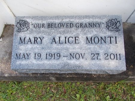 MONTI, MARY ALICE - Hancock County, Mississippi | MARY ALICE MONTI - Mississippi Gravestone Photos