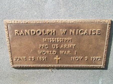 NICAISE (VETERAN WWI), RANDOLPH W (NEW) - Hancock County, Mississippi | RANDOLPH W (NEW) NICAISE (VETERAN WWI) - Mississippi Gravestone Photos