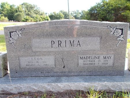 PRIMA, MADELINE MAY - Hancock County, Mississippi | MADELINE MAY PRIMA - Mississippi Gravestone Photos