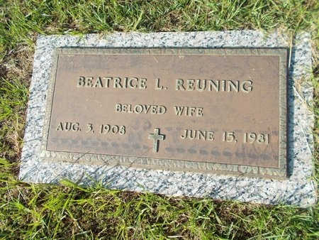 REUNING, BEATRICE L - Hancock County, Mississippi | BEATRICE L REUNING - Mississippi Gravestone Photos