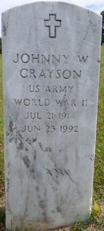 CRAYSON (VETERAN WWII), JOHNNY W - Lee County, Mississippi | JOHNNY W CRAYSON (VETERAN WWII) - Mississippi Gravestone Photos