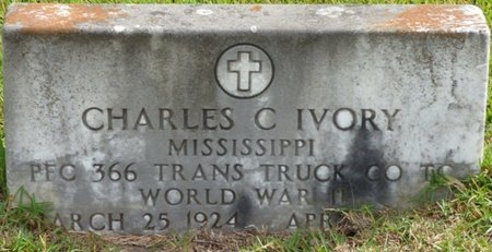IVORY (VETERAN WWII), CHARLES C - Lee County, Mississippi | CHARLES C IVORY (VETERAN WWII) - Mississippi Gravestone Photos