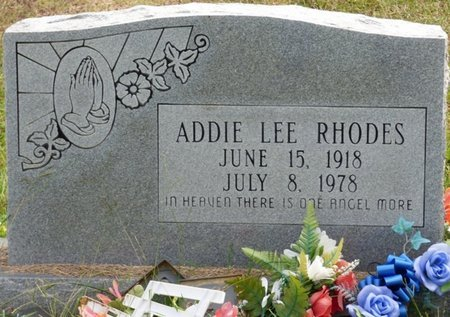 RHODES, ADDIE LEE - Lee County, Mississippi | ADDIE LEE RHODES - Mississippi Gravestone Photos