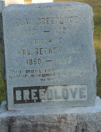 "BREEDLOVE, REBECCA ANN ""BECKEY"" - Prentiss County, Mississippi 