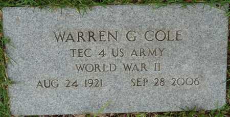 COLE (VETERAN WWII), WARREN G - Prentiss County, Mississippi   WARREN G COLE (VETERAN WWII) - Mississippi Gravestone Photos
