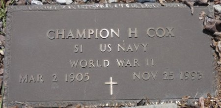 COX (VETERAN WWII), CHAMPION HITE (NEW) - Prentiss County, Mississippi | CHAMPION HITE (NEW) COX (VETERAN WWII) - Mississippi Gravestone Photos
