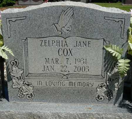 COX, ZELPHIA JANE - Prentiss County, Mississippi | ZELPHIA JANE COX - Mississippi Gravestone Photos