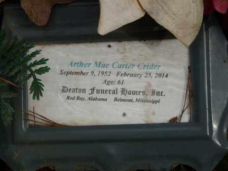 CRIDER, ARTHER MAE - Tishomingo County, Mississippi   ARTHER MAE CRIDER - Mississippi Gravestone Photos