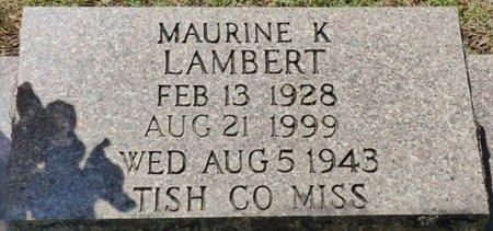 LAMBERT, MAURINE K - Tishomingo County, Mississippi | MAURINE K LAMBERT - Mississippi Gravestone Photos