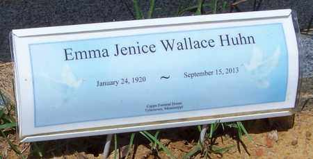 WALLACE HUHN (CLOSE UP), EMMA JENICE - Walthall County, Mississippi | EMMA JENICE WALLACE HUHN (CLOSE UP) - Mississippi Gravestone Photos