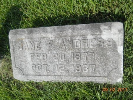 ANDRESS, JANE F - Warren County, Mississippi   JANE F ANDRESS - Mississippi Gravestone Photos