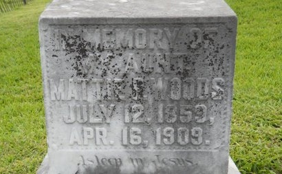 WOODS, MATTIE P - Warren County, Mississippi | MATTIE P WOODS - Mississippi Gravestone Photos