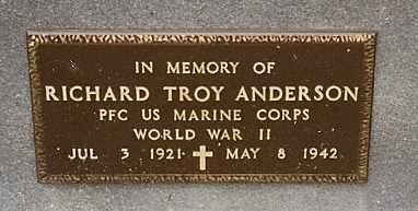 ANDERSON, RICHARD TROY VETERAN WWII KIA - Dade County, Missouri | RICHARD TROY VETERAN WWII KIA ANDERSON - Missouri Gravestone Photos