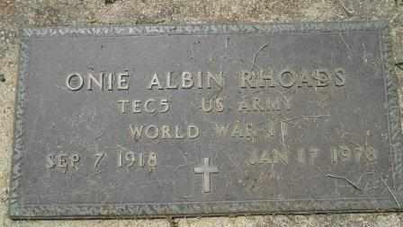 RHOADS, ONIE ALVIN VETERAN WWII - Howell County, Missouri   ONIE ALVIN VETERAN WWII RHOADS - Missouri Gravestone Photos