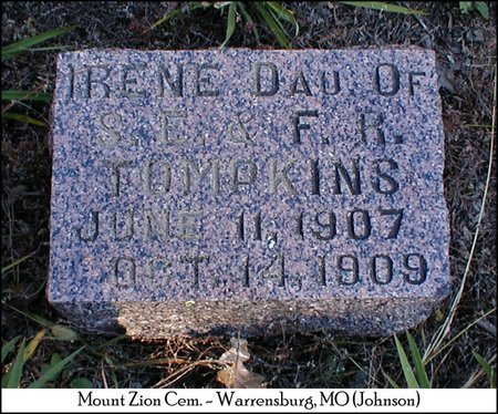 TOMPKINS, IRENE - Johnson County, Missouri | IRENE TOMPKINS - Missouri Gravestone Photos