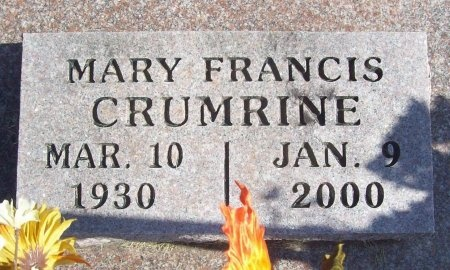 CRUMRINE, MARY FRANCES - Lawrence County, Missouri   MARY FRANCES CRUMRINE - Missouri Gravestone Photos