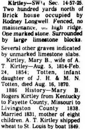 ROGERS KIRTLEY, MARY B - Livingston County, Missouri | MARY B ROGERS KIRTLEY - Missouri Gravestone Photos