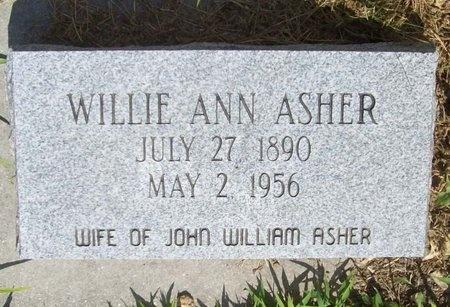 ASHER, WILLIE ANN - McDonald County, Missouri | WILLIE ANN ASHER - Missouri Gravestone Photos