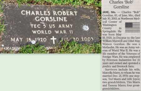 "GORSLINE, CHARLES ROBERT ""BOB"" (VETERAN WWII) - McDonald County, Missouri | CHARLES ROBERT ""BOB"" (VETERAN WWII) GORSLINE - Missouri Gravestone Photos"