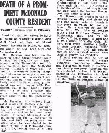 "HARMON, DANIEL CURTIS ""PROPHET"" OBITUARY - McDonald County, Missouri | DANIEL CURTIS ""PROPHET"" OBITUARY HARMON - Missouri Gravestone Photos"