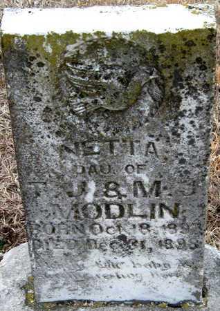 MODLIN, NETTA - McDonald County, Missouri   NETTA MODLIN - Missouri Gravestone Photos