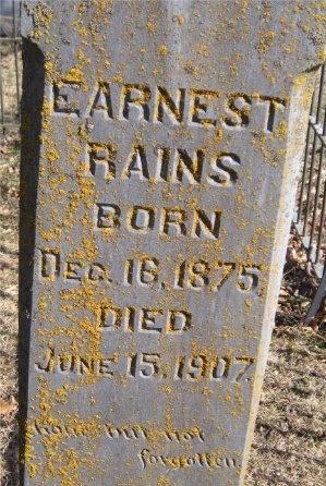 RAINS, EARNEST (CLOSE UP) - McDonald County, Missouri   EARNEST (CLOSE UP) RAINS - Missouri Gravestone Photos