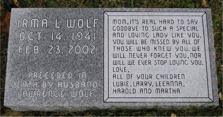WOLF, IRMA LOUISE - McDonald County, Missouri | IRMA LOUISE WOLF - Missouri Gravestone Photos