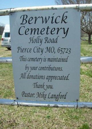 *, BERWICK CEMETERY SIGN - Newton County, Missouri | BERWICK CEMETERY SIGN * - Missouri Gravestone Photos