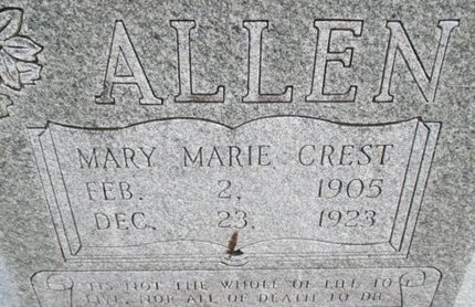 CREST ALLEN, MARY MARIE - Pemiscot County, Missouri | MARY MARIE CREST ALLEN - Missouri Gravestone Photos