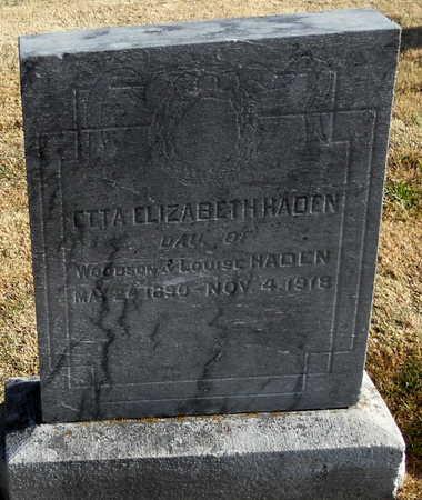 HADEN, ETTA ELIZABETH - Pike County, Missouri | ETTA ELIZABETH HADEN - Missouri Gravestone Photos