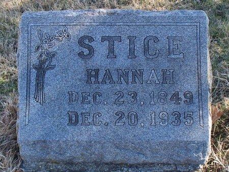 STICE, HANNAH - Scotland County, Missouri | HANNAH STICE - Missouri Gravestone Photos