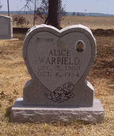 WARFIELD, ALICE - Scott County, Missouri   ALICE WARFIELD - Missouri Gravestone Photos