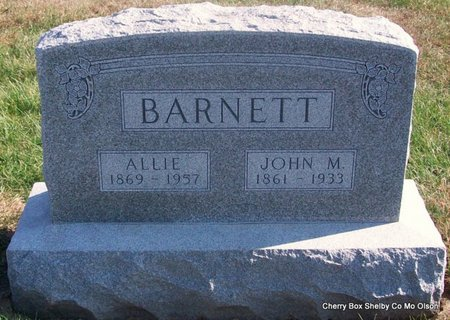 BARNETT, ALLIE - Shelby County, Missouri | ALLIE BARNETT - Missouri Gravestone Photos