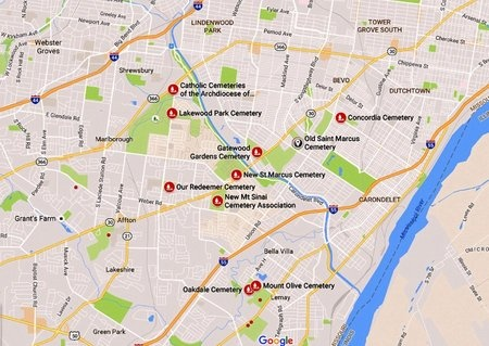 *, MAP - St. Louis City County, Missouri | MAP * - Missouri Gravestone Photos