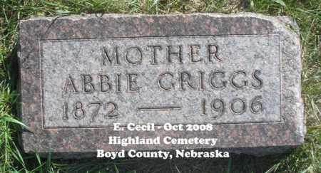 GRIGGS, ABBIE - Boyd County, Nebraska   ABBIE GRIGGS - Nebraska Gravestone Photos