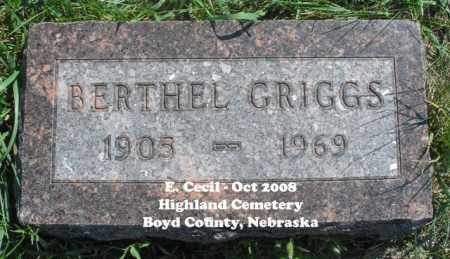 GRIGGS, BERTHEL - Boyd County, Nebraska | BERTHEL GRIGGS - Nebraska Gravestone Photos