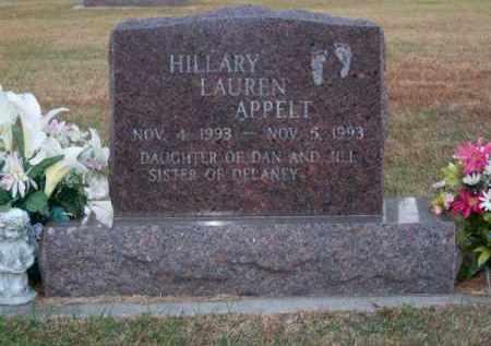 APPELT, HILLARY LAUREN - Brown County, Nebraska | HILLARY LAUREN APPELT - Nebraska Gravestone Photos