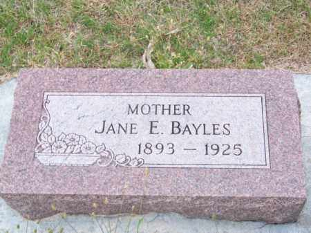 BAYLES, JANE E. - Brown County, Nebraska | JANE E. BAYLES - Nebraska Gravestone Photos