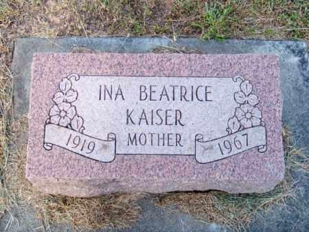 KAISER, INA BEATRICE - Brown County, Nebraska | INA BEATRICE KAISER - Nebraska Gravestone Photos