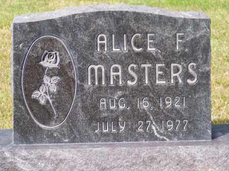 MASTERS, ALICE F. - Brown County, Nebraska   ALICE F. MASTERS - Nebraska Gravestone Photos