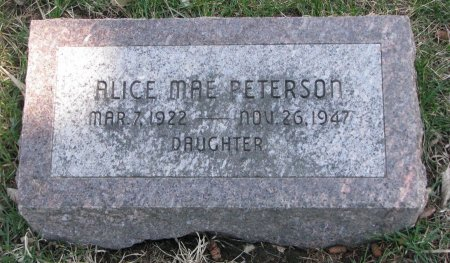 PETERSON, ALICE MAE - Burt County, Nebraska | ALICE MAE PETERSON - Nebraska Gravestone Photos