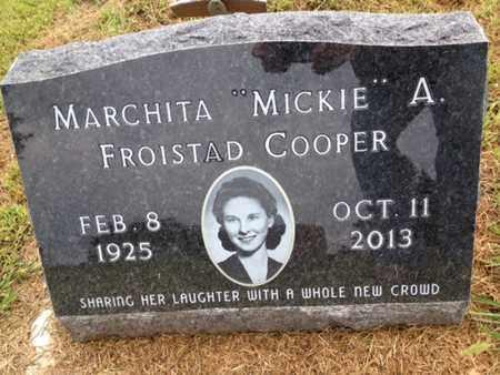 "FROISTAD COOPER, MARCHITA ""MICKIE"" A. - Cedar County, Nebraska | MARCHITA ""MICKIE"" A. FROISTAD COOPER - Nebraska Gravestone Photos"