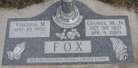 FOX, VIRGINIA M. - Cedar County, Nebraska | VIRGINIA M. FOX - Nebraska Gravestone Photos