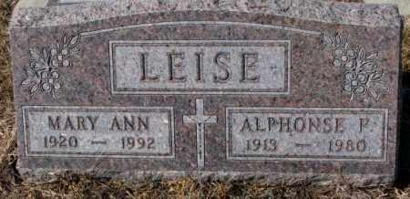LEISE, MARY ANN - Cedar County, Nebraska   MARY ANN LEISE - Nebraska Gravestone Photos