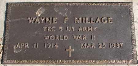 MILLAGE, WAYNE F. - Cedar County, Nebraska   WAYNE F. MILLAGE - Nebraska Gravestone Photos