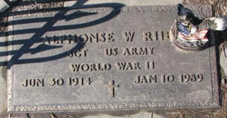 RIIBE, ALPHONSE W. (WW II) - Cedar County, Nebraska   ALPHONSE W. (WW II) RIIBE - Nebraska Gravestone Photos